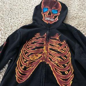 Tony Hawk Shirts & Tops - EUC Tony Hawk Fire Skeleton Full Face Hoodie
